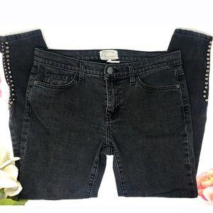 CURRENT/ELLIOTT  Grey Studded Ankle Skinny Jeans